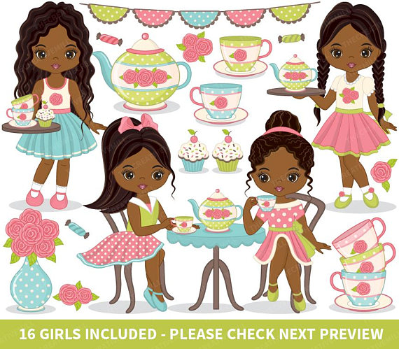 African clipart vector. Tea party american