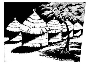 Hut paintings page of. African clipart village