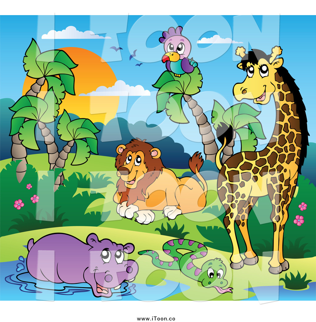 Royalty Free Cartoon of African Animals at a Water Hole at Sunset by