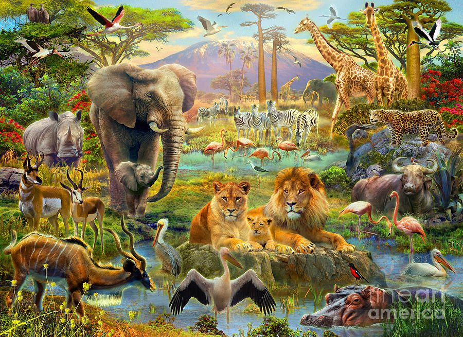 Digital art fine print. African clipart watering hole