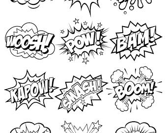 Superhero comic bubbles bubble. African clipart word