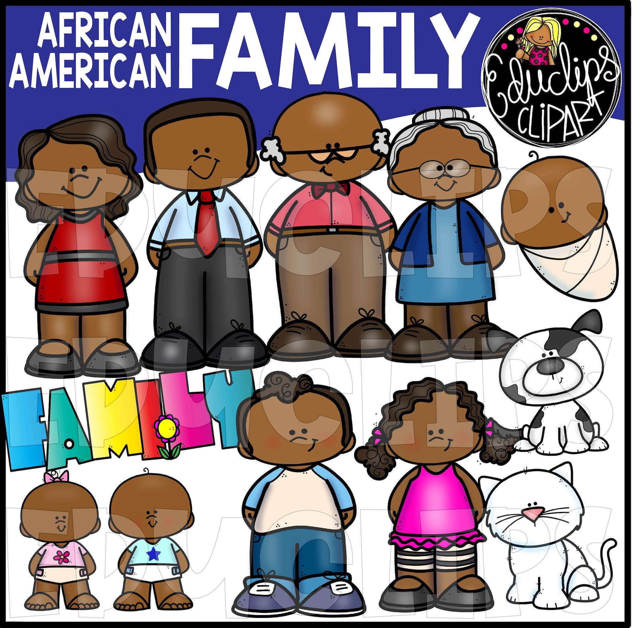 Grandparent clipart little family. African american clip art