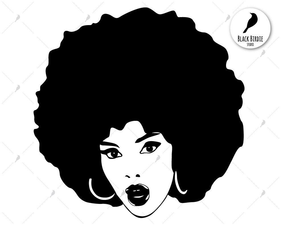 Afro clipart. Black woman svg