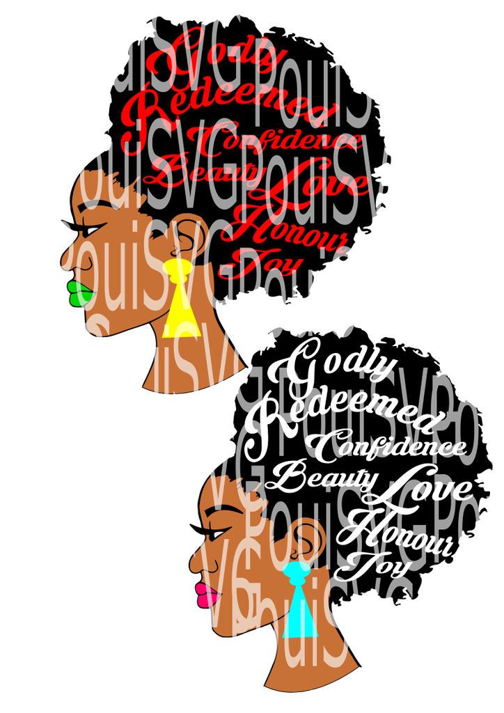 Svg silhouette cameo cutting. Afro clipart afro lady