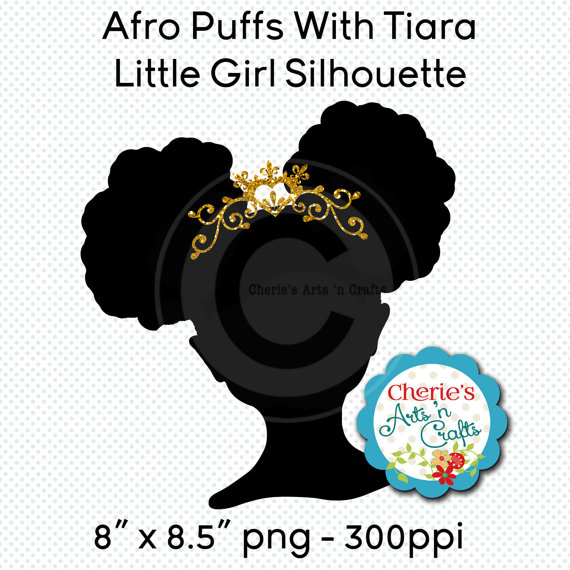 Little girl silhouette african. Afro clipart afro puffs