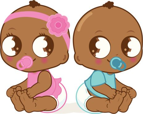 Cute girl and boy. Twins clipart african american baby