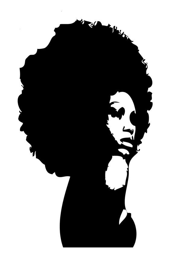 afro clipart black and white