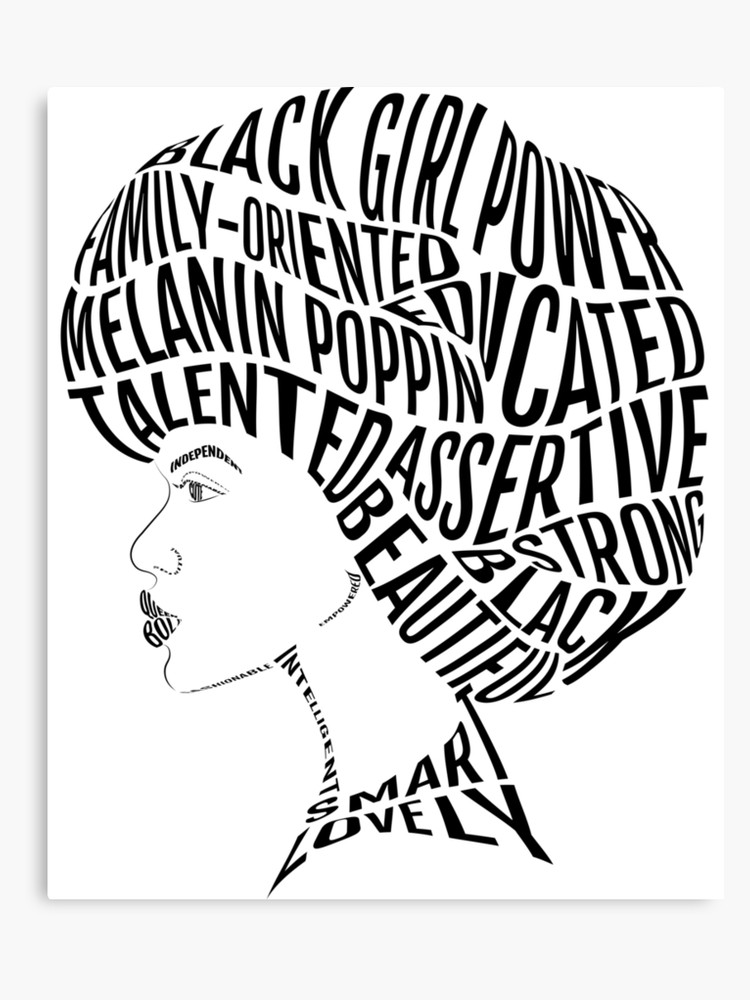 Hair word attributes design. Afro clipart black history