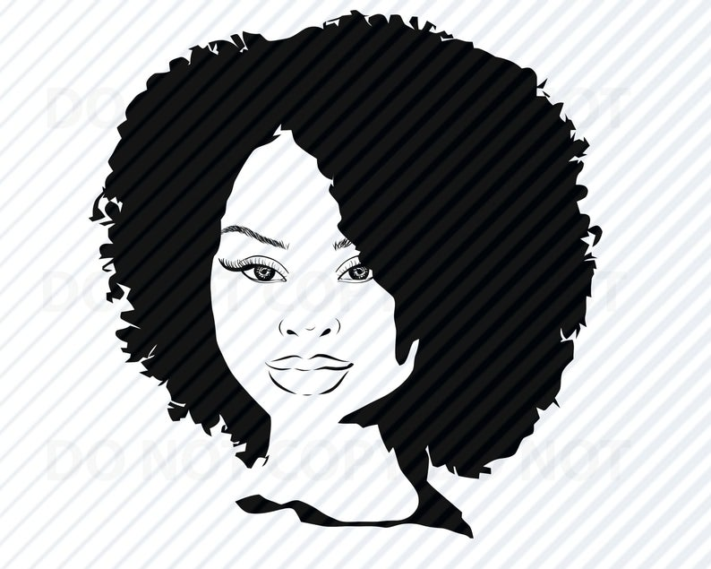 Svg african american silhouette. Afro clipart black woman face