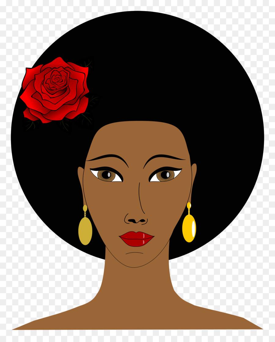 Afro clipart black woman face. Hair cartoon nose transparent