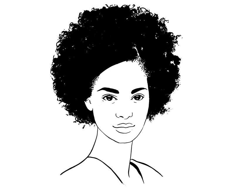 Lady girl american silhouette. Afro clipart black woman face