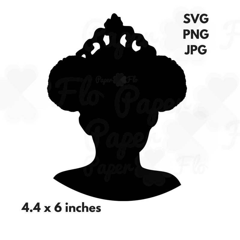 Princess puffs svg silhouette. Afro clipart clown hair