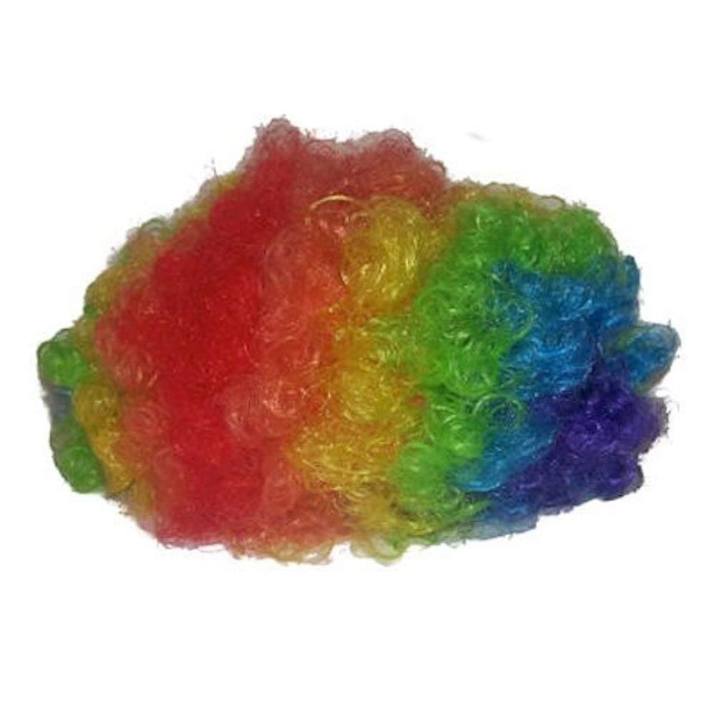 Afro clipart clown hair. Amazon com rainbow wig
