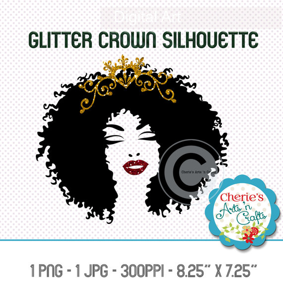 Gold glitter crowned woman. Afro clipart crown silhouette