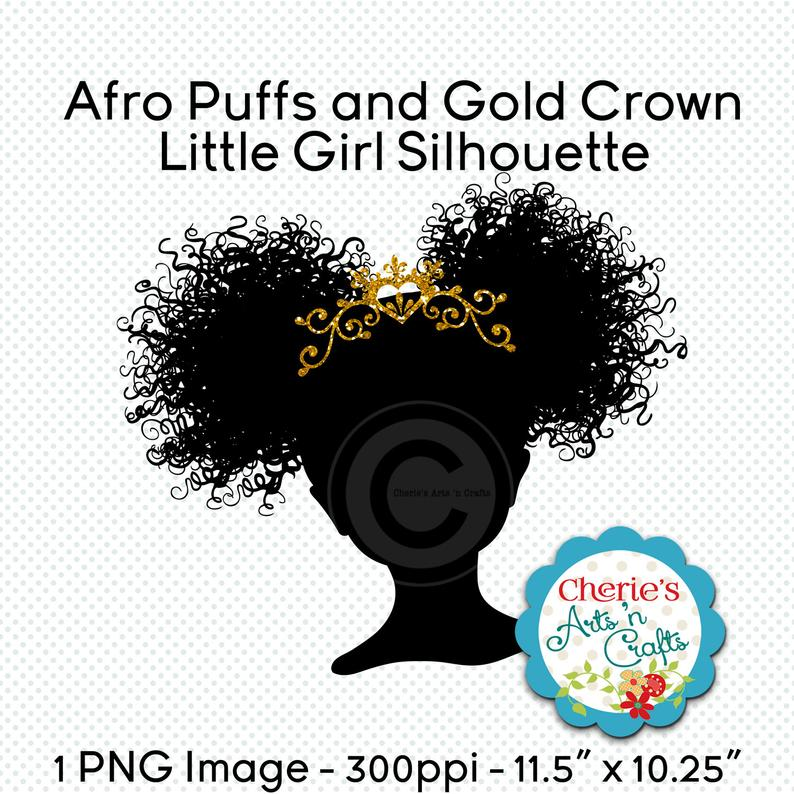 Afro clipart crown silhouette. Puffs gold girl silhouettes