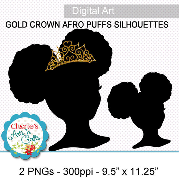 Afro clipart crown silhouette. Puffs little girl with