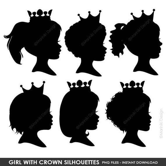 Afro clipart crown silhouette. Girl with silhouettes princess