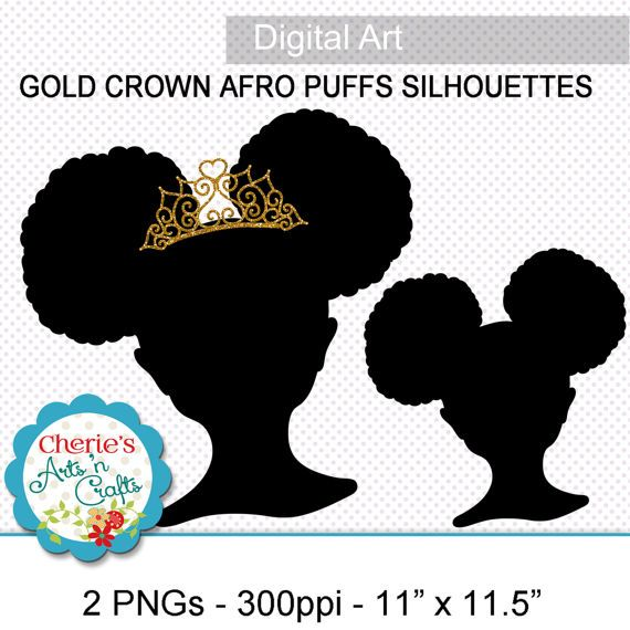 Puffs little girl with. Afro clipart crown silhouette