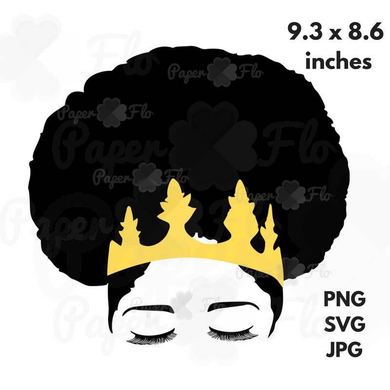 Svg melanin cut file. Afro clipart crown silhouette
