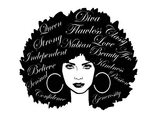 Black girl with at. Afro clipart drawing
