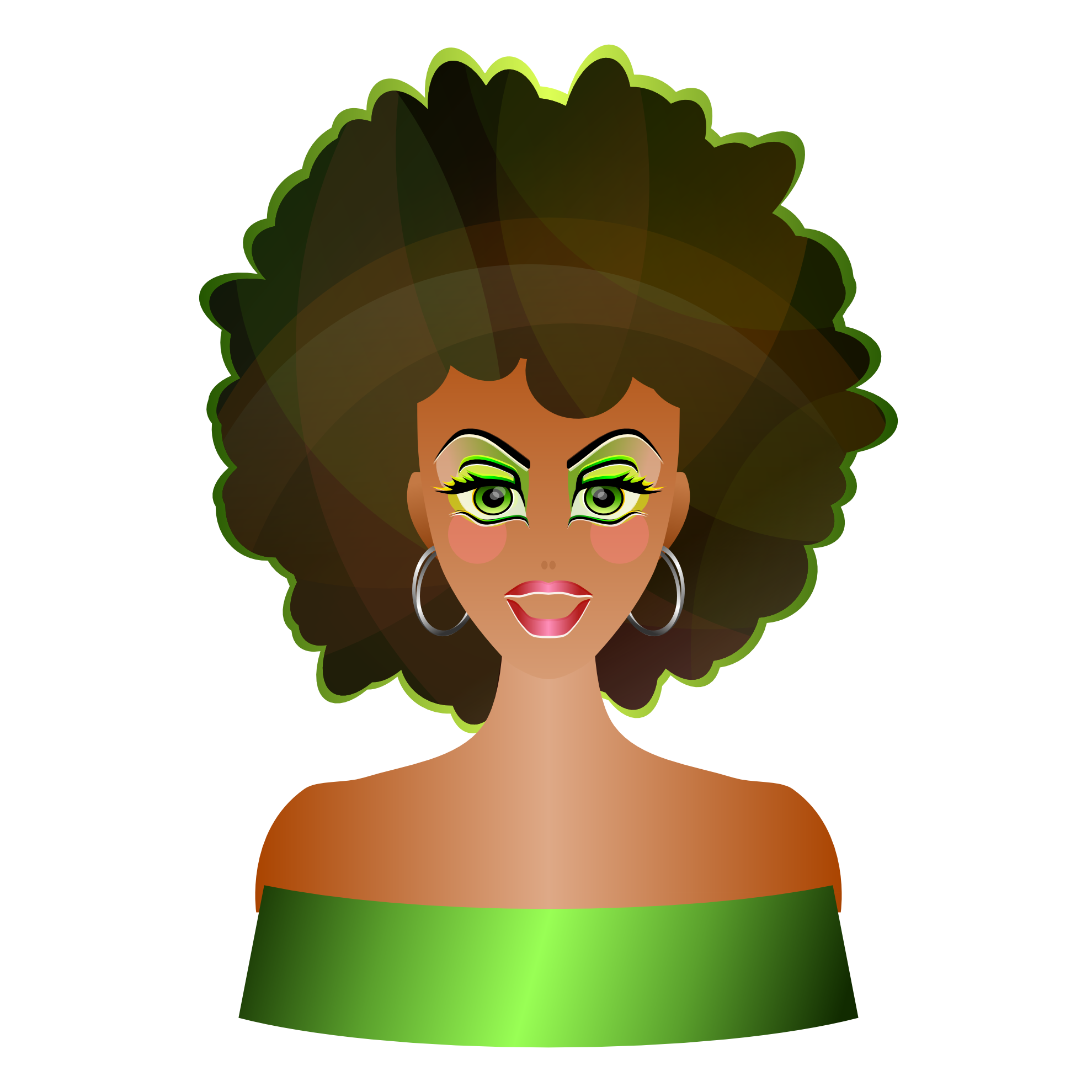 Afro woman silhouette at. Costume clipart clown wig