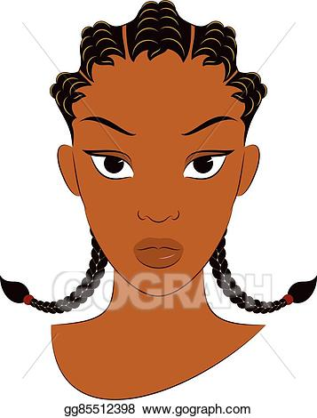 Afro clipart drawing. Vector art girl with
