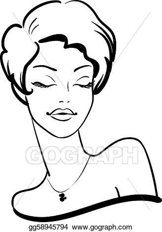 Stock illustration fashion female. Afro clipart eye