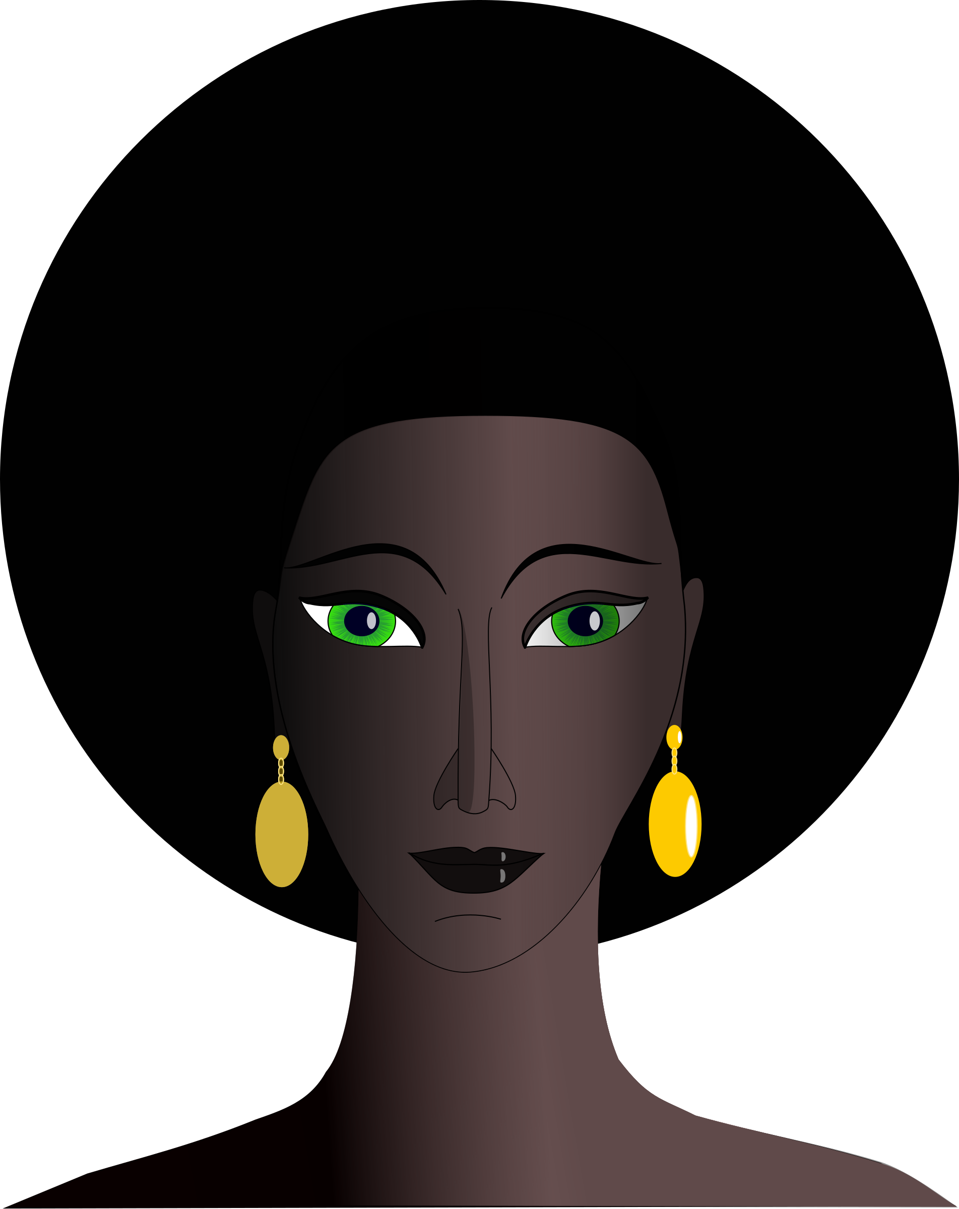 Black woman with green. Eyes clipart lady
