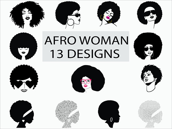 Woman svg png eps. Afro clipart funky