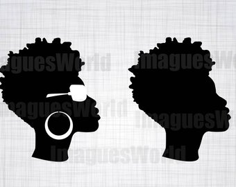 Woman svg black girl. Afro clipart funky