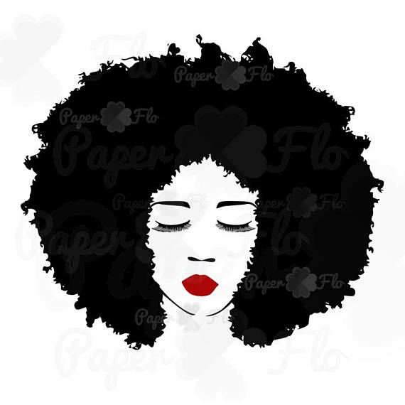 Afro clipart grey hair. Big svg eyelashes lips