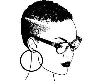 Drawing etsy black woman. Afro clipart grey hair