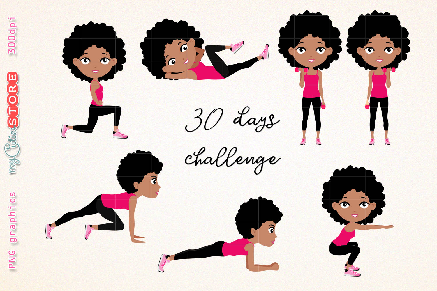 Girl fitness workout cute. Afro clipart illustration