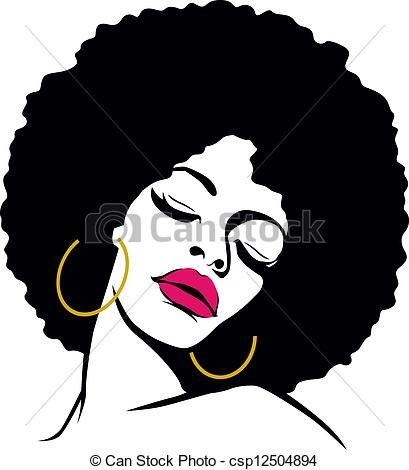 Afro clipart illustration. Stock hair hippie woman