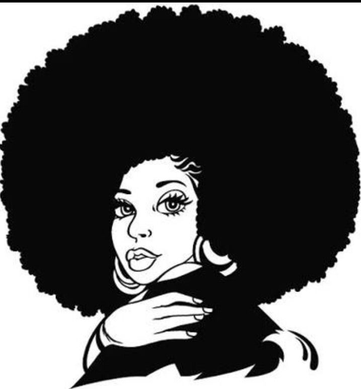 afro clipart line