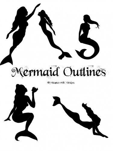 Mermaid clip art black. Afro clipart outline