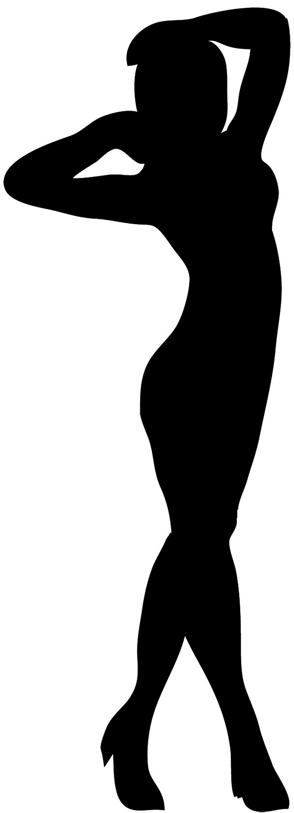 Female silhouette standing woman. Afro clipart outline