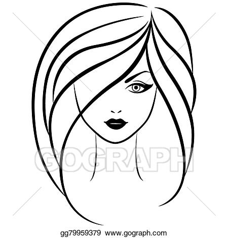Afro clipart outline. Eps vector abstract portrait