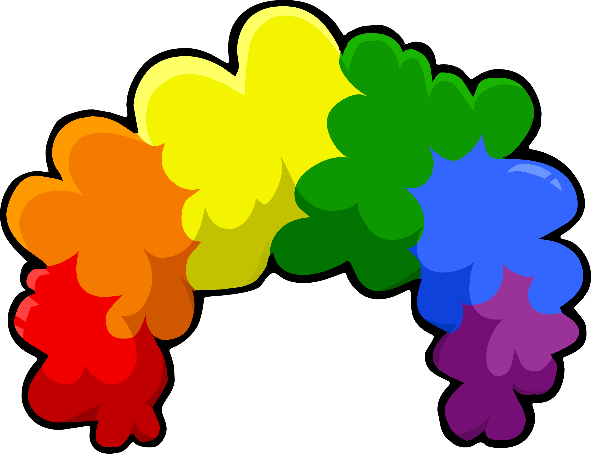 Rainbow fro club penguin. Costume clipart clown wig