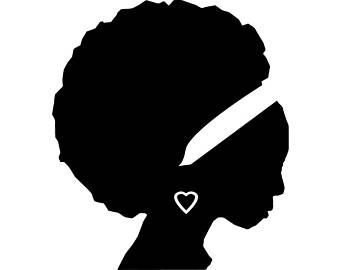 Curly afro silhouette at. Africa clipart logo