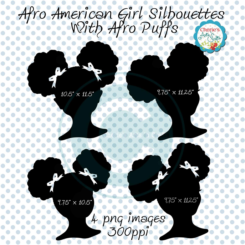 Afro clipart silhouette. Puffs clip art african