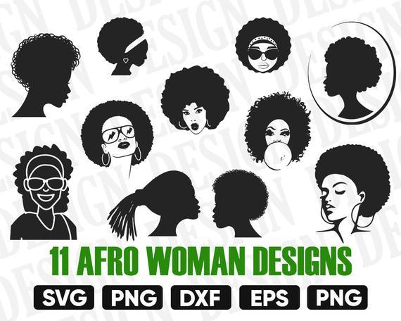 Black woman diva svg. Afro clipart silhouette