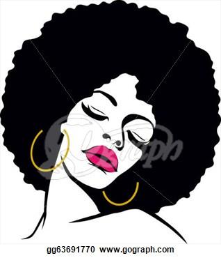 African american woman face. Artist clipart female artist