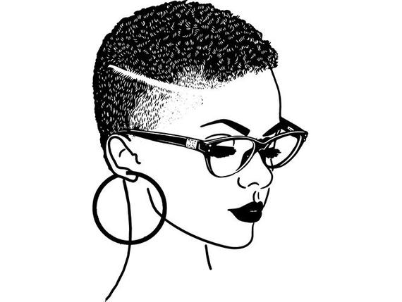Woman hairstyle nubian princess. Afro clipart sketch