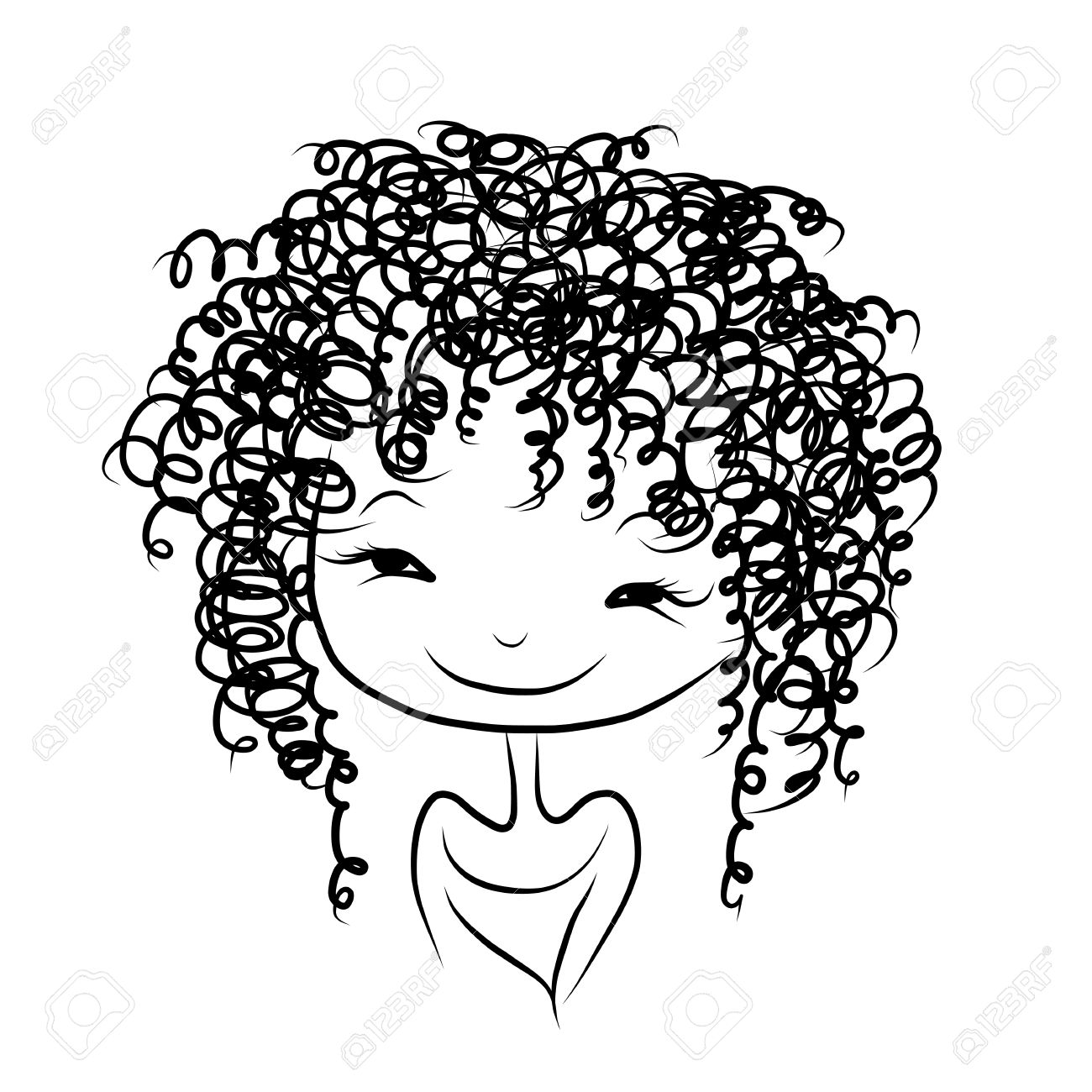 Afro hair drawing at. Air clipart curly