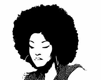 Lady silhouette vector file. Afro clipart svg