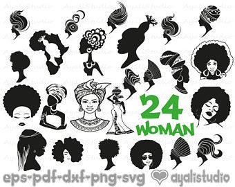 Afro clipart svg. Black woman etsy