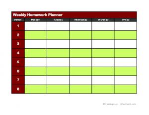 Agenda clipart assignment notebook. Weekly homework planner incep
