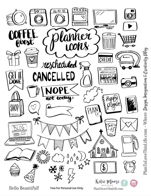 Planner clipart guide book. Free printable hand drawn