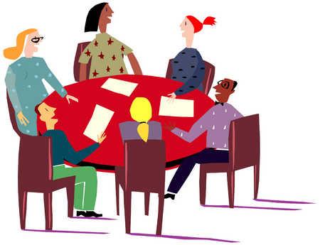 Stock illustration group keywords. Agenda clipart meeting table